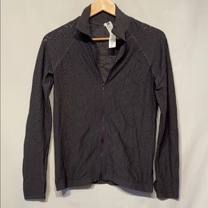 Fabletics Zipper Gray Distressed Jacket Large